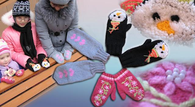 варежки, вязание спицами, вышивка снеговики