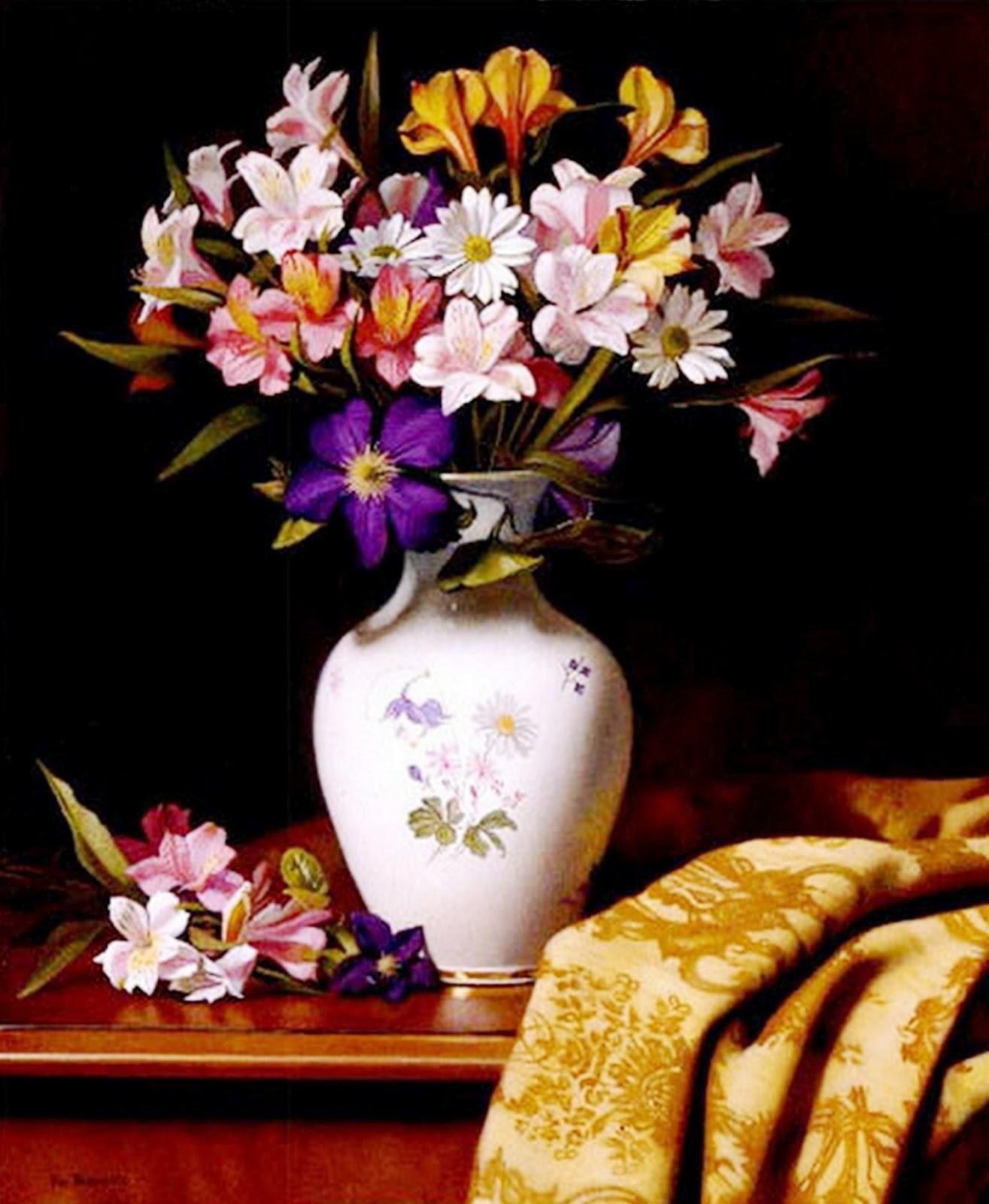 Im genes arte pinturas jarrones decorativos con flores - Oleos decorativos ...