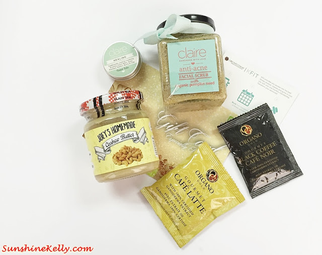 CubeCrate, Monthly Mysterious Box, Organo Gourmet Coffee, Nooks, KFIT, Joey's Homemade Cashew Butter, Beyond Beauty, Claire, Surprise