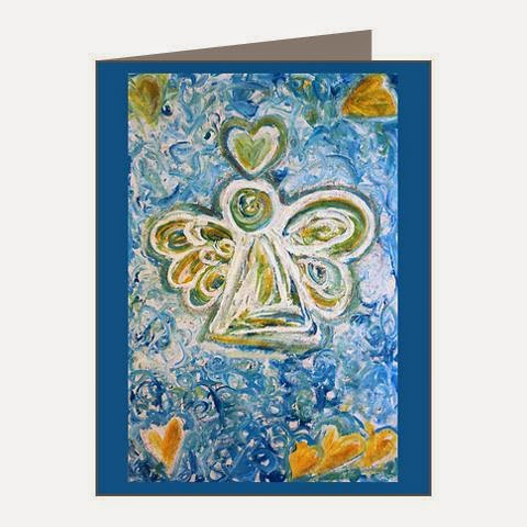 Golden Blue Guardian Angel Note Cards