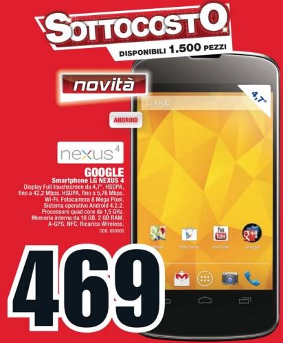 In arrivo tramite Mediaworld in offerta sottocosto il Nexus 4 di LG e Google anche in Italia