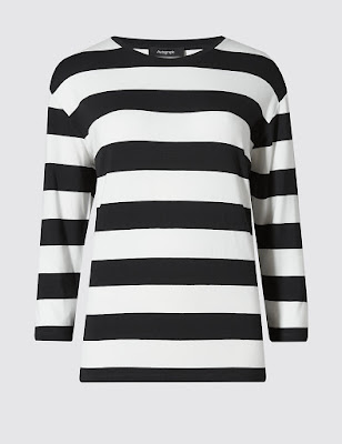 Marks and Spencer three quarter sleeve striped top