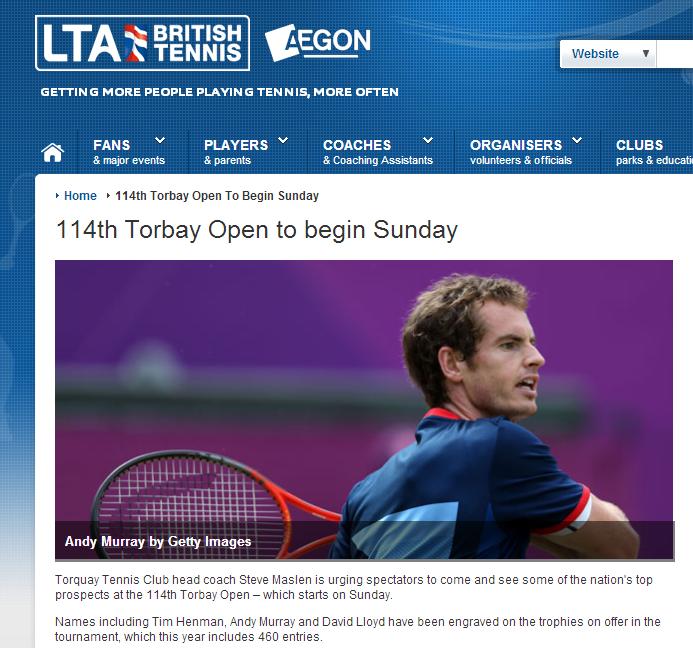 イギリスのジュニアテニス大会 トーベイ・オーブンテニス選手権 アンディー・マレーもジュニア選手として参戦