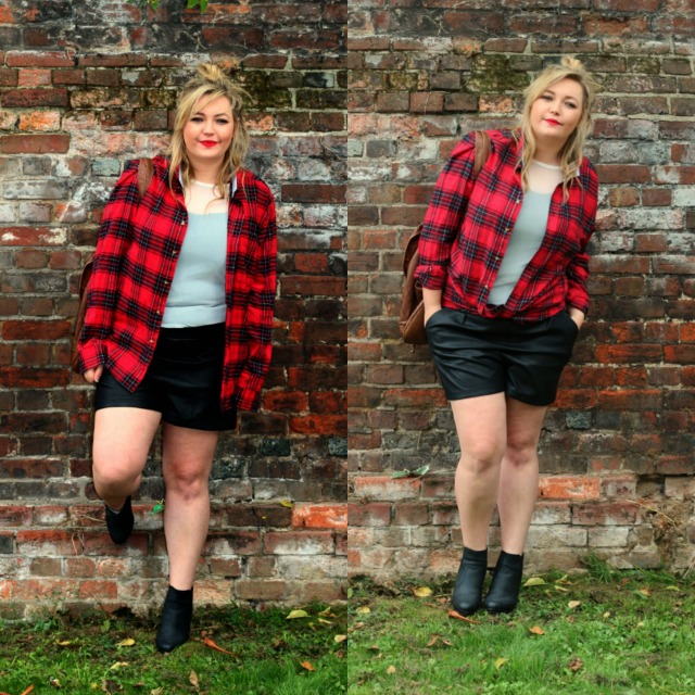 white mesh tee, primark oversized red plaid boyfriend shirt, leather shorts asos, top knot, new look black heeled chelsea boots, primark tan backpack, ootd, autumn outfit,