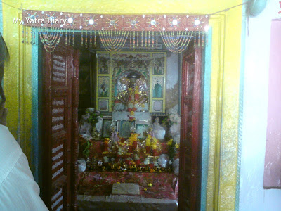 The deity room in the temple at Brahmand Ghat, Mathura