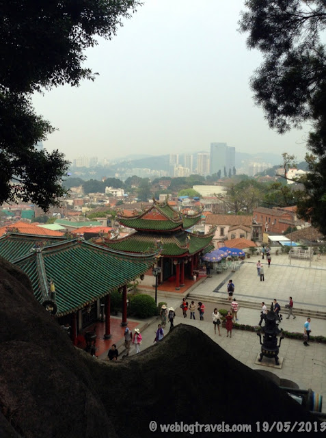 View of Gulangyu island from temple goddesss statue