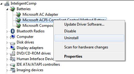 Screenshot of Device manager uninstalling battery: IntelligentComputing