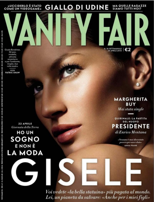 Gisele Bundchen on the cover of Vanity Fair Italy April 2013.