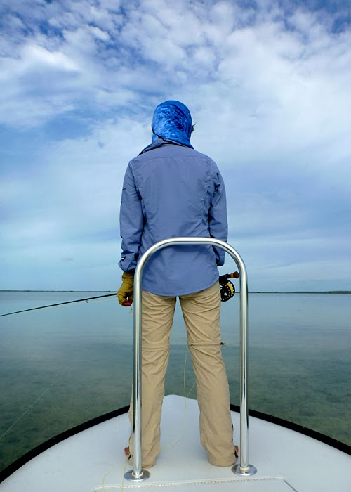 Flygirl Hyun Kounne on the hunt for bonefish in Abaco, Bahamas