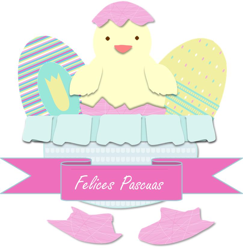 """huevos y pollito de Pascua con cartel """"felices Pascuas"""""""
