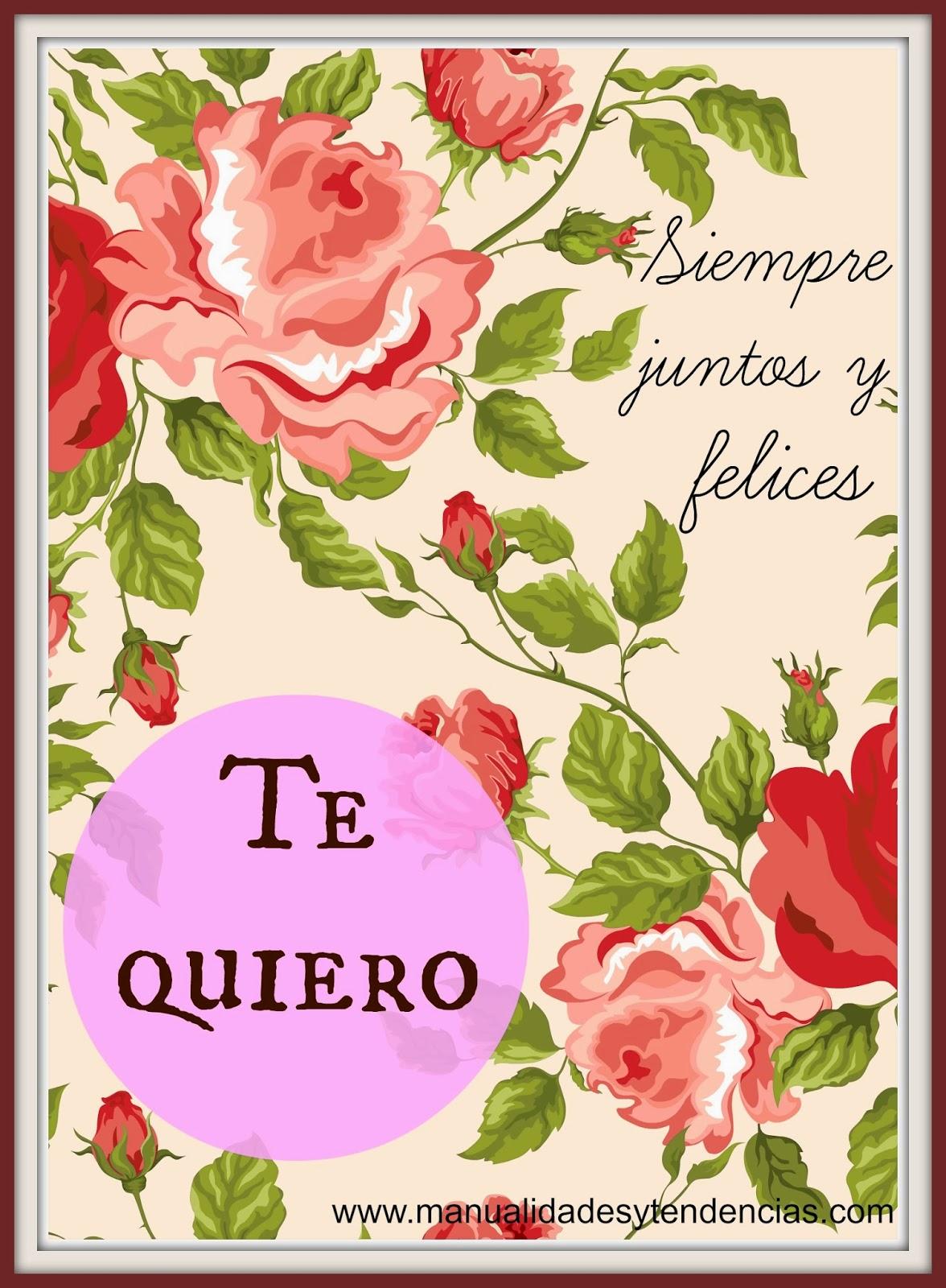 Tarjeta de San Valentín o día de los enamorados imprimible gratis.