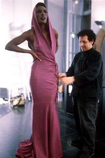 grace jones fits a dress