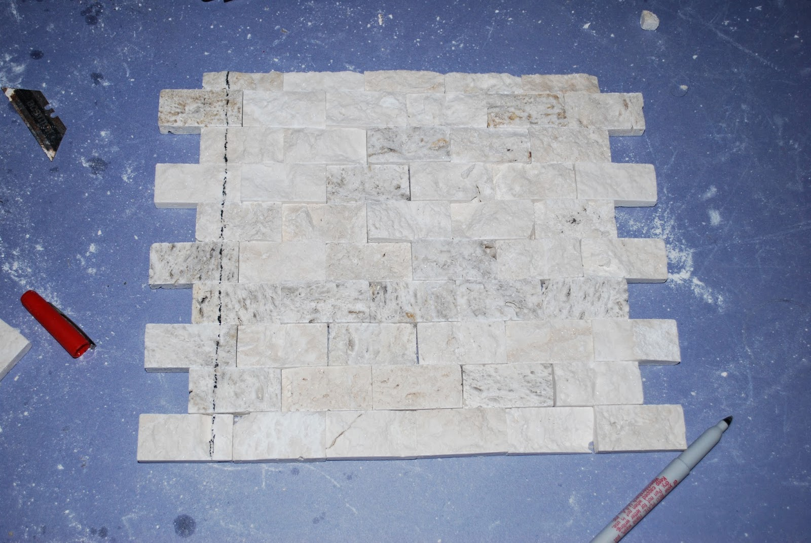 mark stacked stone tile for cuts