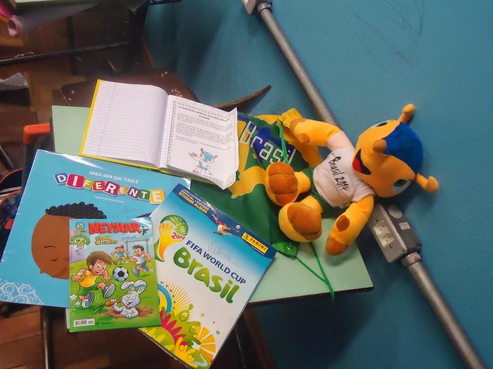Livros, gibis e mascote levaods pelos alunos para criação de texto
