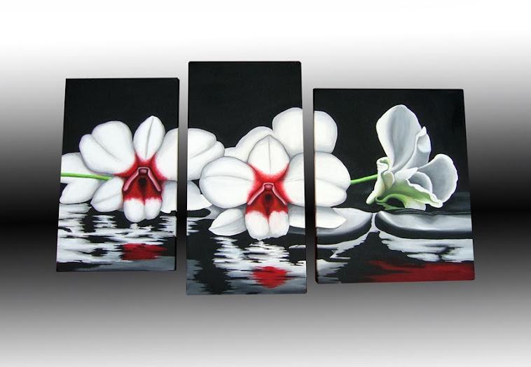 Cuadros modernos florales tripticos pintados a mano car - Cuadros florales modernos ...