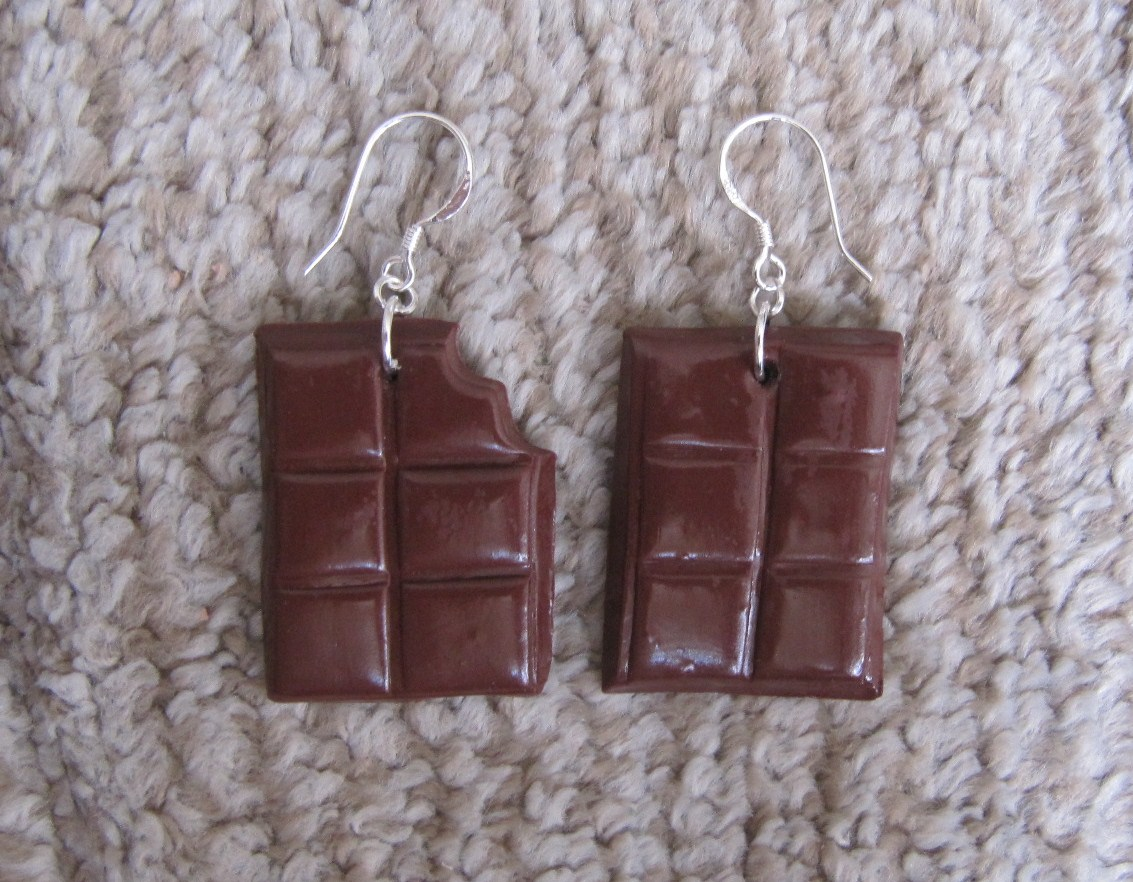 Boucle d'oreille fimo chocolat