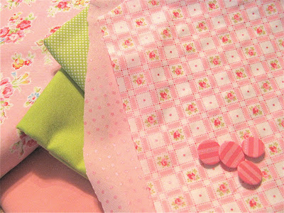 pink and green fabrics for applique quilt Vintage Valentine by Verna Mosquera