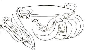 desenho de tacho com milhos e abobora para pintar