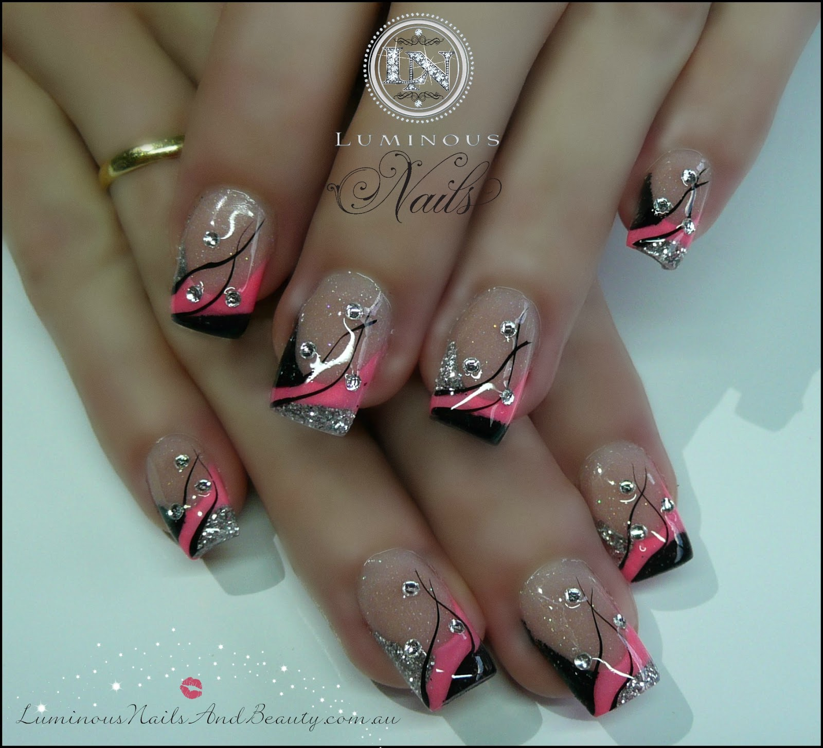 Neon Pink Black Silver
