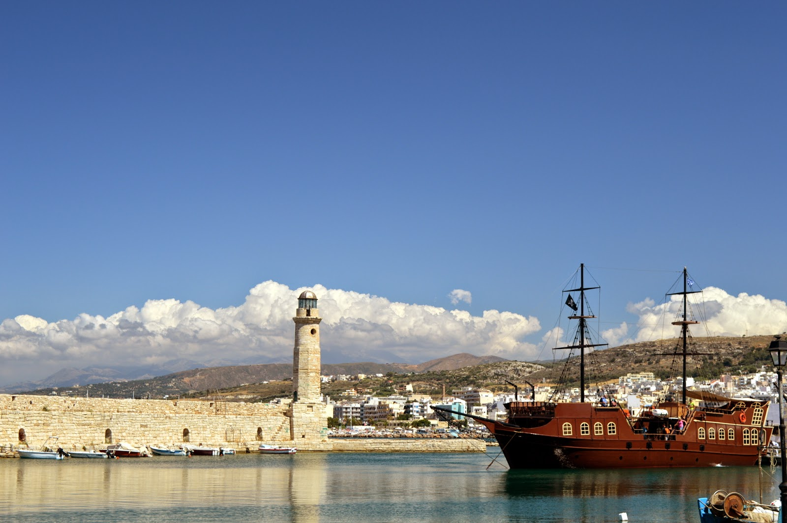 View of the old port Rethimno, Crete, Greece.