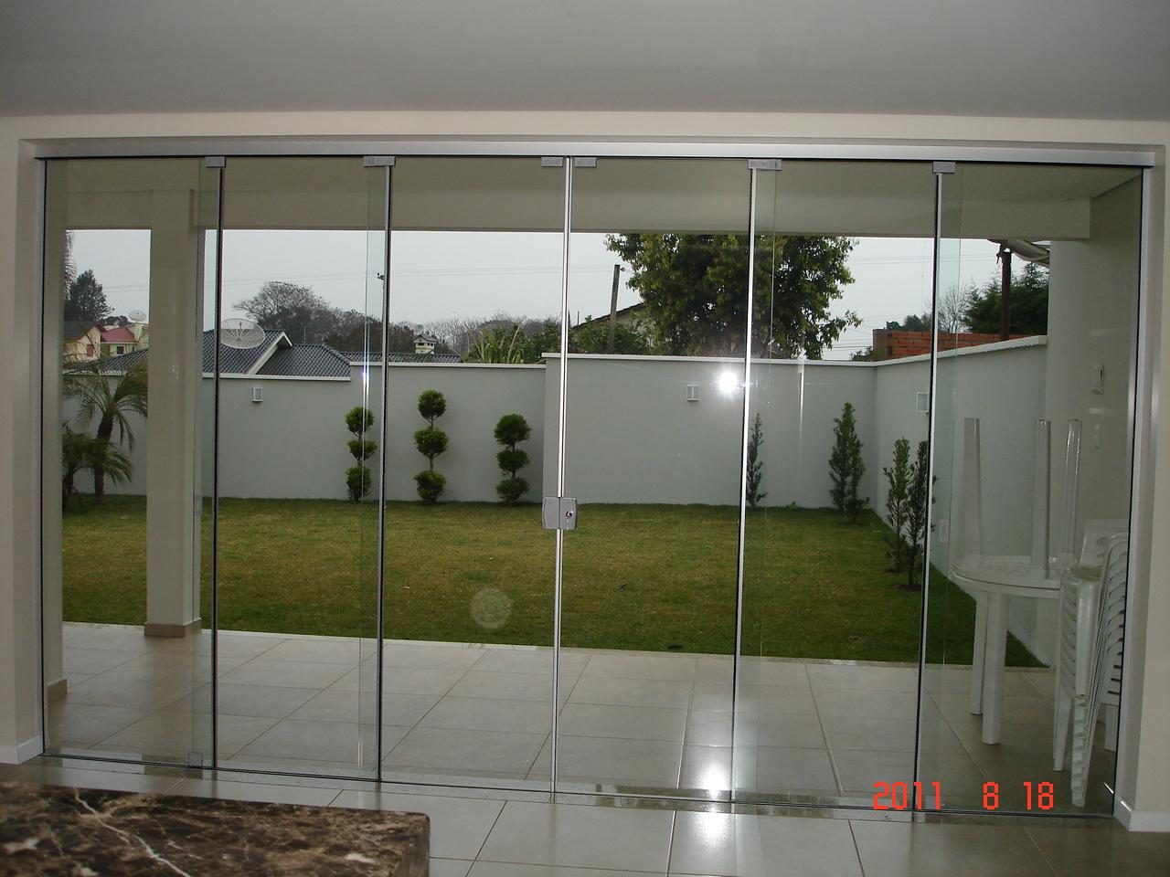 #A63525 Porta de correr 4 folhas móveis e duas fixas (vidro temperado 10mm  334 Janelas De Vidro Temperado No Rs