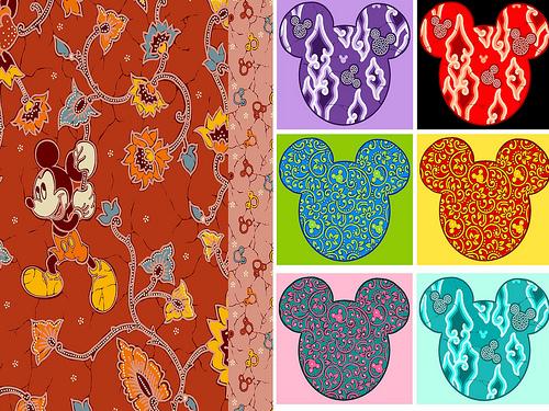 Motif Mickey Mouser pada kain Batik Keris