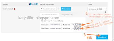 14 pilih masa aktif domain dan isikan dns yang ada pada idhostinger (karyafikri.blogspot.com)