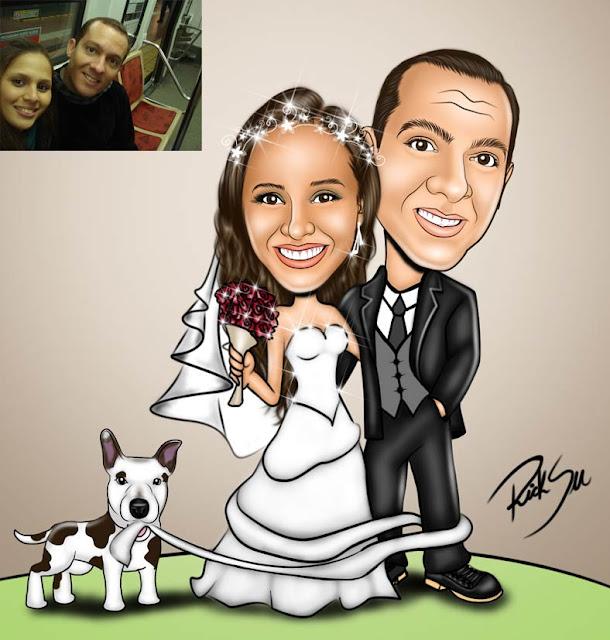 noivo e noiva com cachorra da raça Amstaff American Staffordshire Terrier