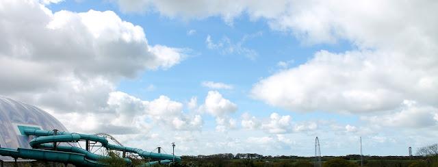 sky scenery Blue Lagoon swimming Bluestone Wales Oakwood Theme Park in background