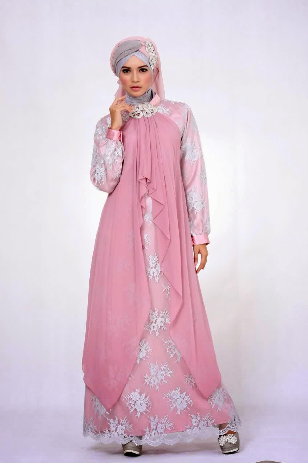 20 contoh baju gamis muslim brokat terbaru 2018 Baju gamis pesta muslim