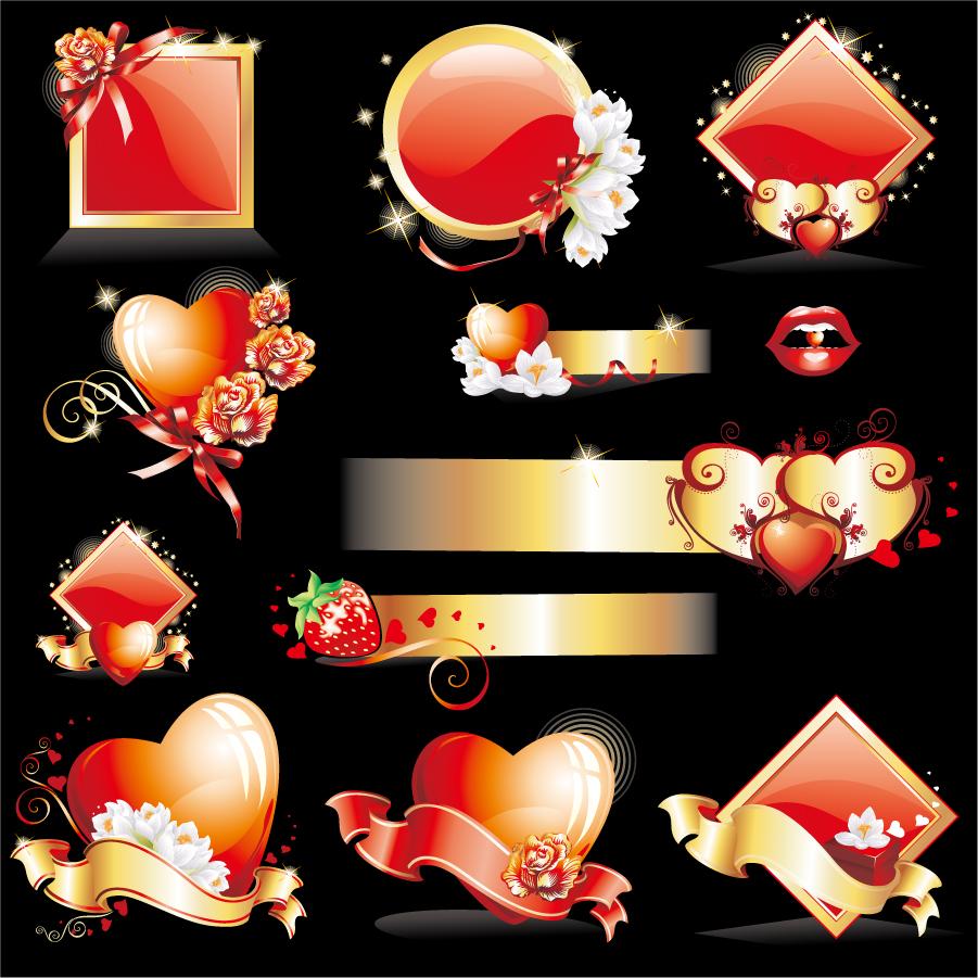 ハート型の修飾素材エレメント Heart glittering love element vector イラスト素材
