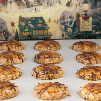 oatmeal cookies topped with caramel