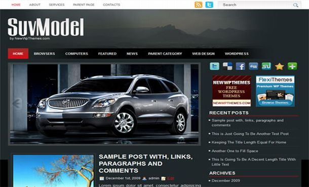 Free Wordpress Cars Blog Jquery Theme