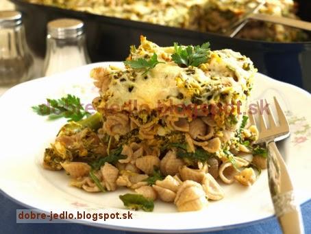 Zapekané cestoviny s brokolicou a rukolou - recepty