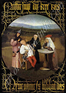 The Cure of Folly (1475-80) Gullibility and the price to be paid for it is a constant theme of Bosch's 'devil take the hindmost' philosophy. The man in the chair is clearly a victim though willing of the three charlatans surrounding him.