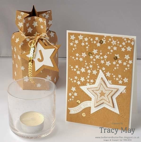 stampin up uk independent demonstrator Tracy May Stars Mask and framelits Gift ideas