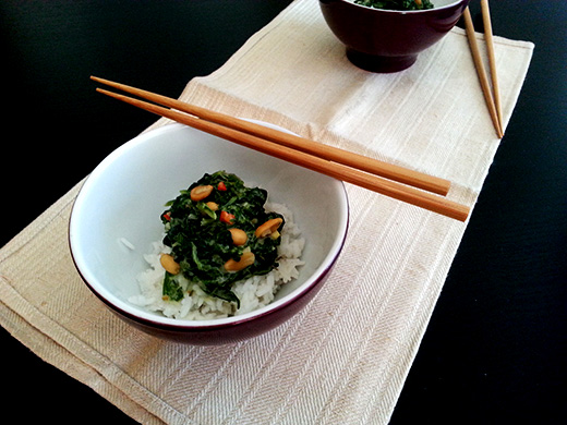 7 Wochen vegan Selbstversuch Fazit Reis mit Erdnussbutter-Spinat-Kokossauce Holunderweg 18 Foodblog