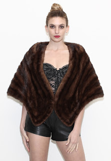 Vintage 1950's dark brown mink stole