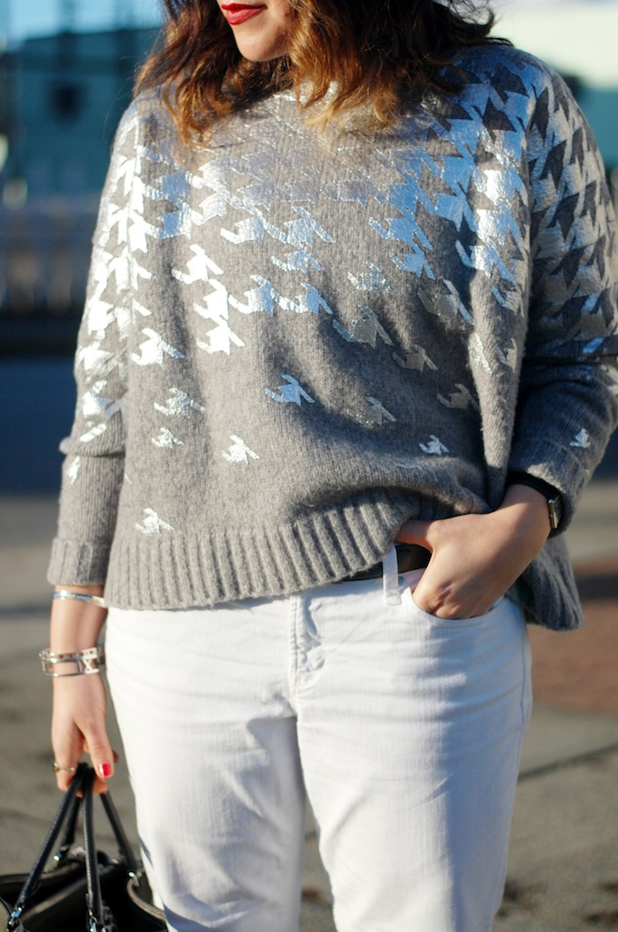 424 Fifth metallic wool houndstooth sweater