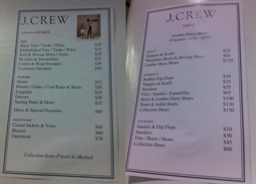 JCrew Aficionada JCrew Sample Sale the info – Sample Sales Sheet