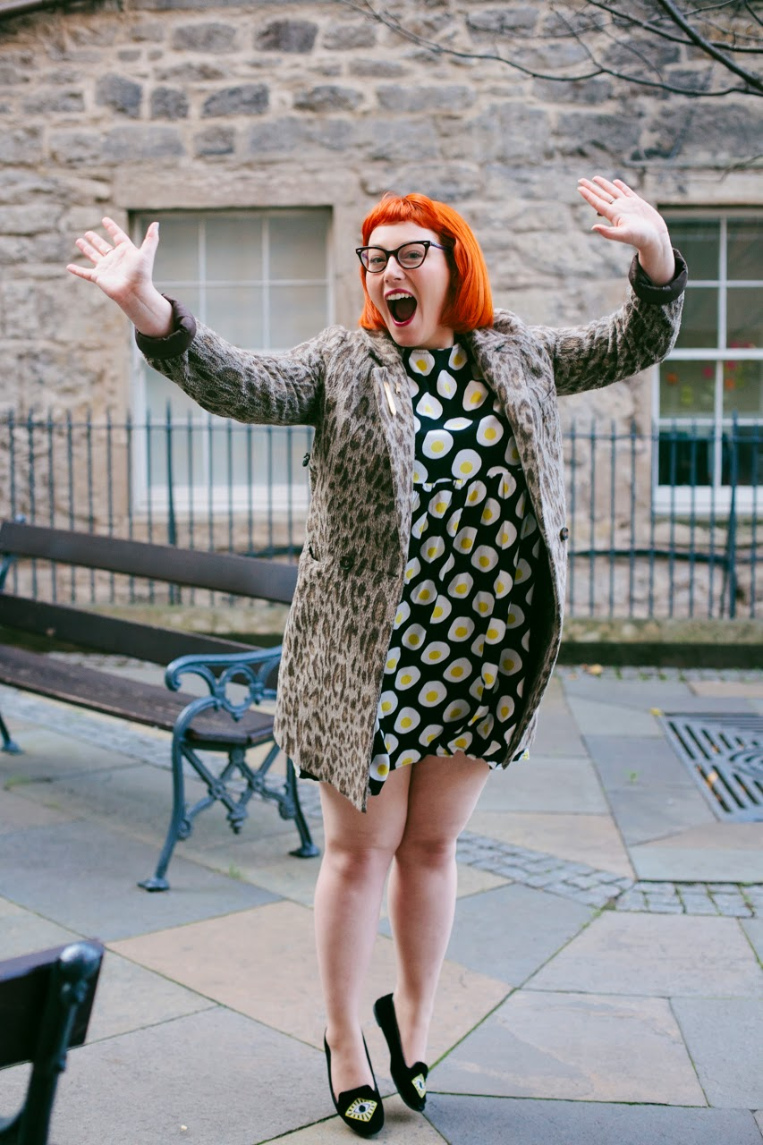 Edinburgh Blogger, Scottish Blogger, Mint and Chillies, Ginger, Red Head, cat eye glasses, The Whitepepper egg dress, leopard print, jump shot, blogger pose, Edinburgh