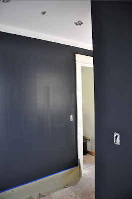 1920s bungalow renovation. mudroom. benjamin moore deep space