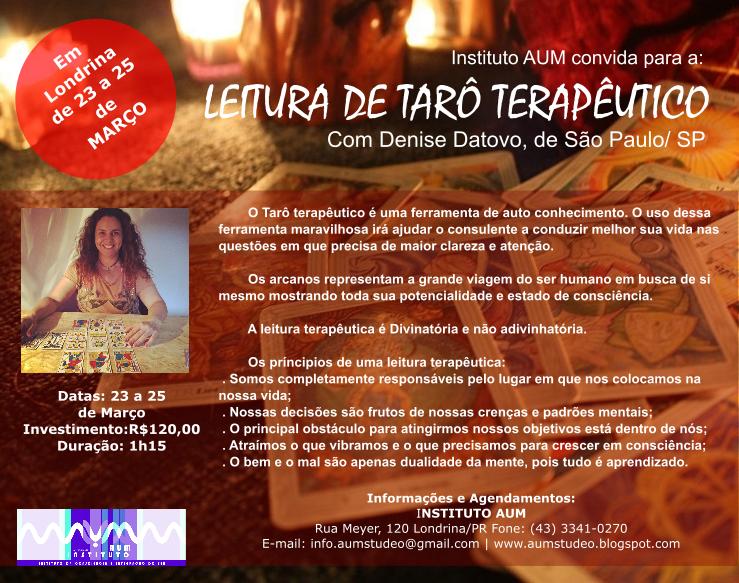 LEITURA DE TARÔ TERAPÊUTICO, com Denise Datovo