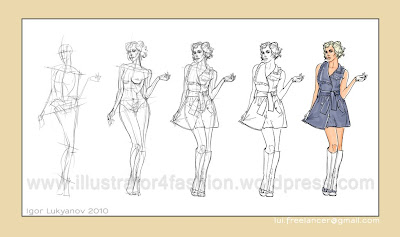 how to draw fashion illustration (drawing fashion figure body)
