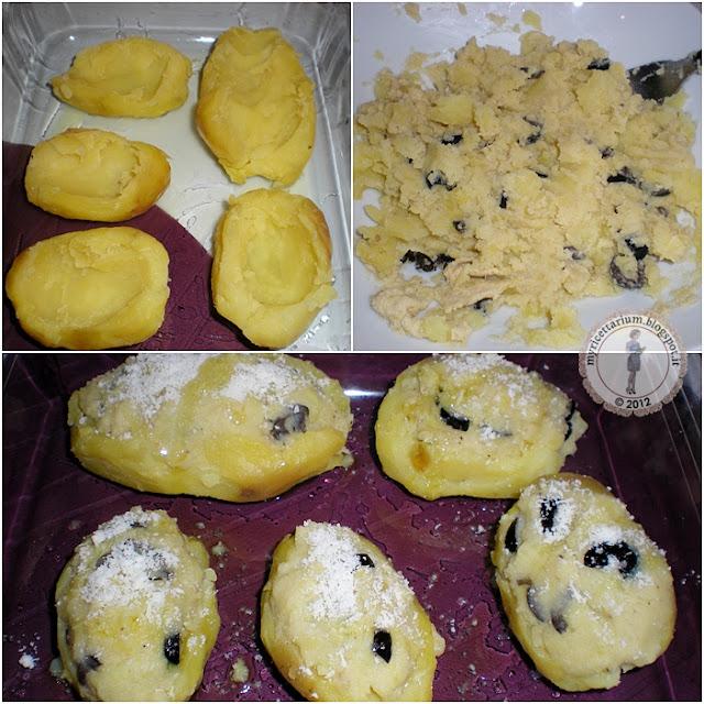 Barchette di patate con crema di carciofi ed olive nere