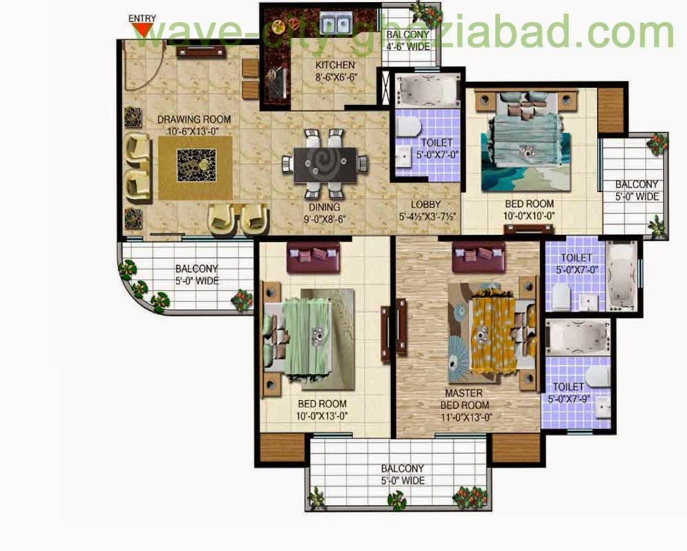 Wave City Mantra Meadows 3BHK APARTMENT + STUDY/ 1455 SQFT