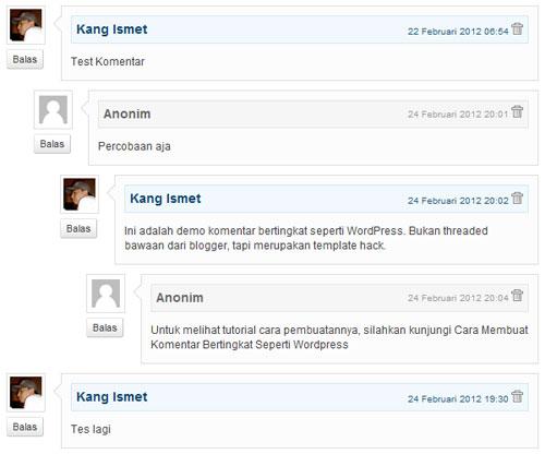 Komentar Bertingkat Seperti WordPress
