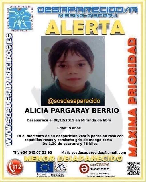 Alicia Pargaray niña 9 años desaparecida Miranda de Ebro