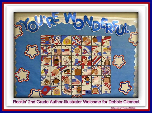 photo of: Patriotic Bulletin Board in Response to &quot;Red, White and Blue&quot; Picture Book by Debbie Clement