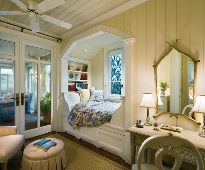 Guest Room White Wood Framed Sleeping Nook Is A Divine Spot To Get Lost In Book